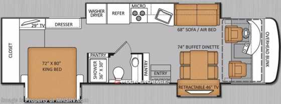 "New 2014 Thor Motor Coach Palazzo 35.1 King, Stack W/D, Res. Fridge & 46"" TV Floorplan"
