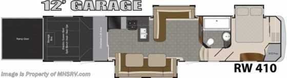 "New 2014 Heartland RV Road Warrior RW410 W/3 Slides, 50"" TV, Auto Leveling, 3 A/Cs Floorplan"