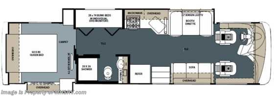 New 2014 Forest River Legacy 340BH Bunk House W/Res. Fridge & 5 TVs Floorplan