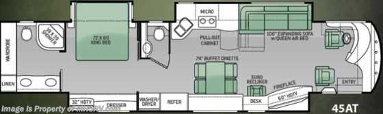 "New 2015 Thor Motor Coach Tuscany 45AT Bath & 1/2, Aqua Hot, 60"" TV & 10K Gen. Floorplan"