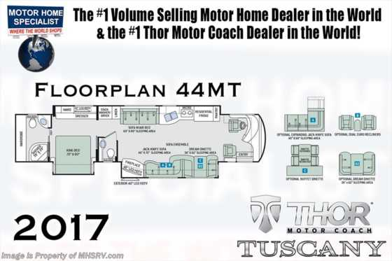 New 2017 Thor Motor Coach Tuscany 44MT Bath & 1/2, Aqua Hot, King, 10K Gen. Floorplan