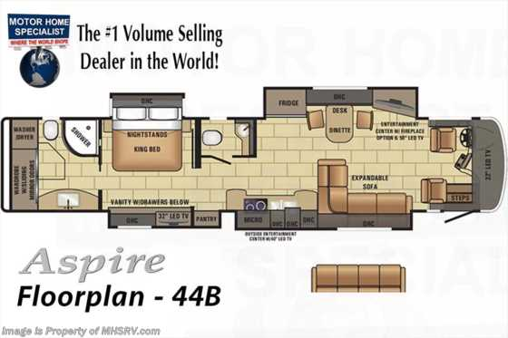 New 2017 Entegra Coach Aspire 44B Bath & 1/2 Luxury RV for Sale Floorplan