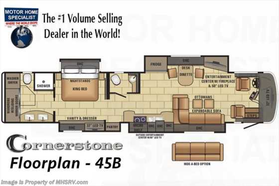 New 2017 Entegra Coach Cornerstone 45B Bath & 1/2 RV for Sale at MHSRV.com Floorplan