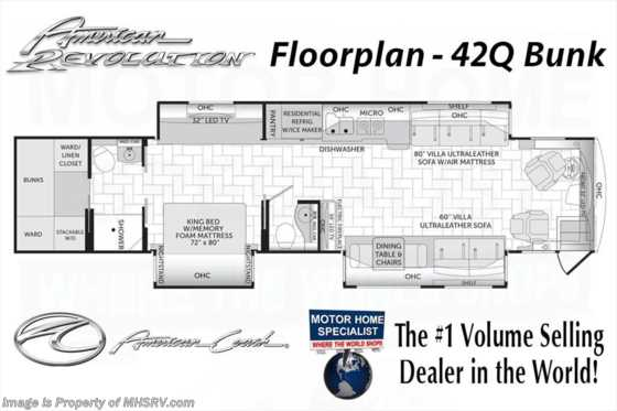 New 2017 American Coach American Revolution 42Q Bath & 1/2, Bunk Model, IFS, Ultra Steer Floorplan