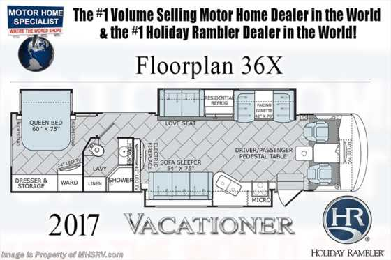 New 2017 Holiday Rambler Vacationer 36X Class A RV for Sale at MHSRV W/LX Package Floorplan