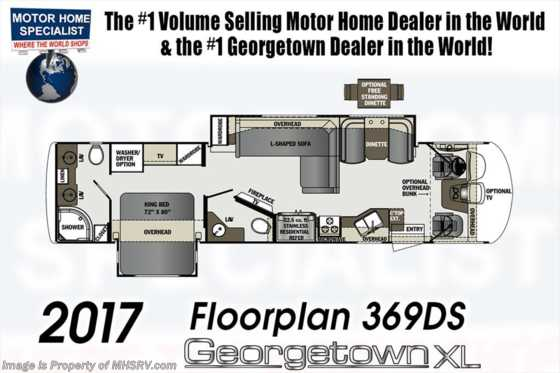 New 2017 Forest River Georgetown XL 369DS Bath & 1/2 RV for Sale W/Ext TV, W/D Floorplan