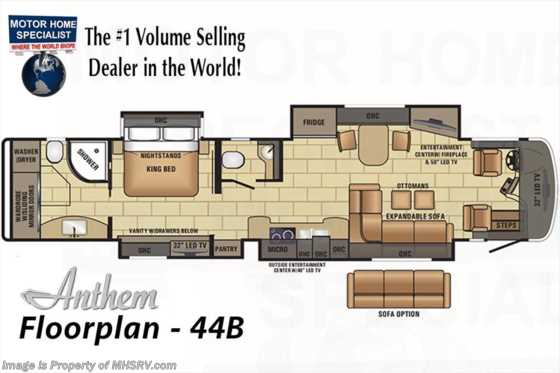 New 2017 Entegra Coach Anthem 44B Bath & 1/2 Luxury RV for Sale @ MHSRV.com Floorplan