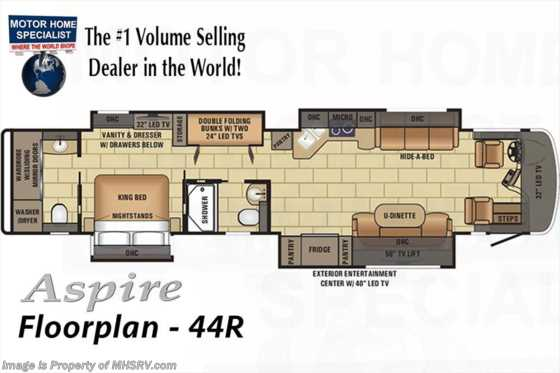 New 2018 Entegra Coach Aspire 44R Pwr Bunk Model, Bath & 1/2 Luxury RV for Sale Floorplan