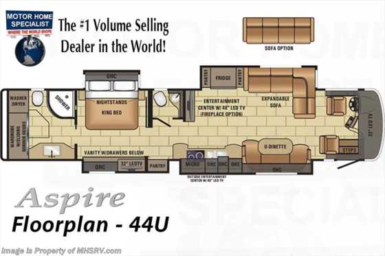 New 2018 Entegra Coach Aspire 44U Bath & 1/2 Luxury RV for Sale at MHSRV W/WiFi Floorplan