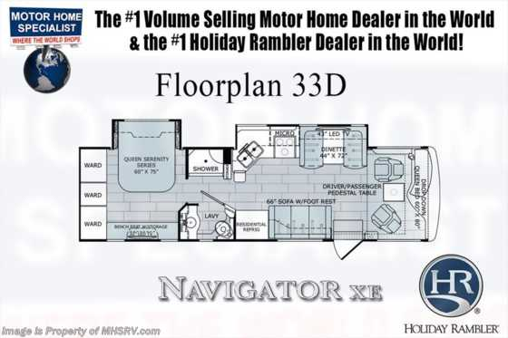 New 2018 Holiday Rambler Navigator XE 33D RV for Sale W/ Sat, Res Fridge, W/D Floorplan