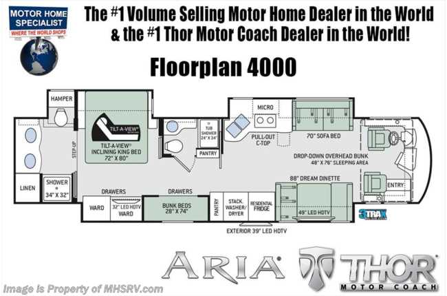 New 2018 thor motor coach aria new 2018 thor motor coach aria 4000 bunk model luxury rv w 2 full baths king asfbconference2016 Images
