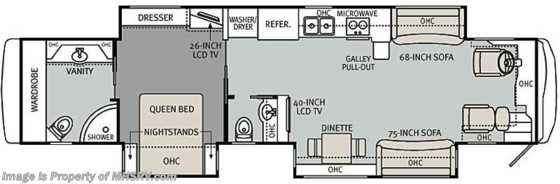 New 2011 Monaco RV Camelot 43DFT Bath & 1/2 Luxury Diesel RV for Sale Floorplan