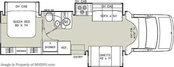 New 2013 Coachmen Concord 300TS W/3 Slides - Class C RV for Sale Floorplan