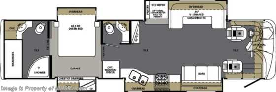 New 2013 Forest River Berkshire (390RB-40) W/4 Slides New RV For Sale Floorplan
