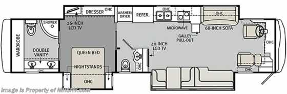 New 2013 Monaco RV Diplomat W/3 Slides-43DFT-RV for Sale Floorplan
