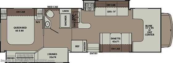 New 2013 Coachmen Leprechaun Bunk House Class C RV 32BH W 2 Slides Floorplan
