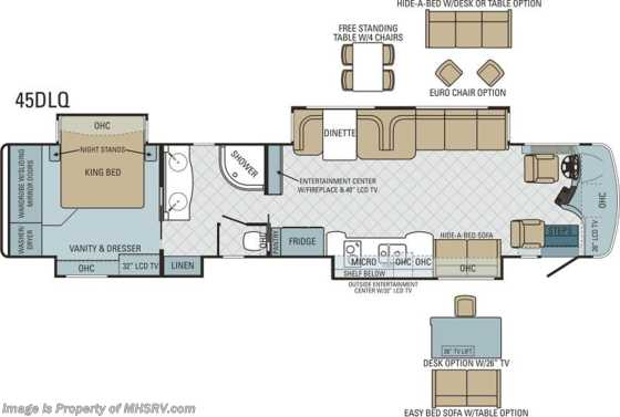 New 2014 Entegra Coach Cornerstone (45DLQ) Luxury RV for Sale W/4 Slides Floorplan