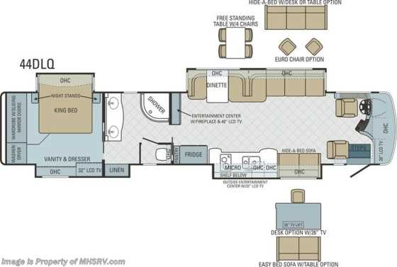 New 2014 Entegra Coach Anthem 44DLQ Luxury RV for Sale W/4 Slides Floorplan