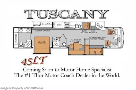 New 2014 Thor Motor Coach Tuscany 45LT Bath & 1/2 RV for Sale Floorplan