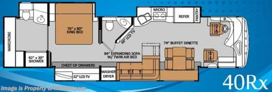 New 2014 Thor Motor Coach Tuscany 40RX W/$2K VISA, Res. Fridge, Aqua Hot, Stack W/D, Floorplan