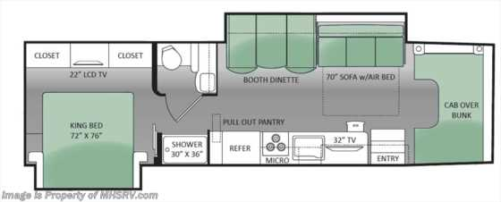 New 2014 Thor Motor Coach Chateau Super C 35SK W/2 Slides & 50 inch TV (Platinum & Vintage) Floorplan