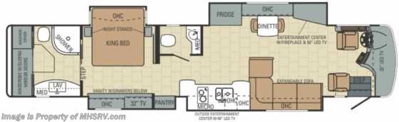 "New 2014 Entegra Coach Anthem 44B Bath & 1/2 W/50"" LED TV (Mocha & Tuscan) Floorplan"