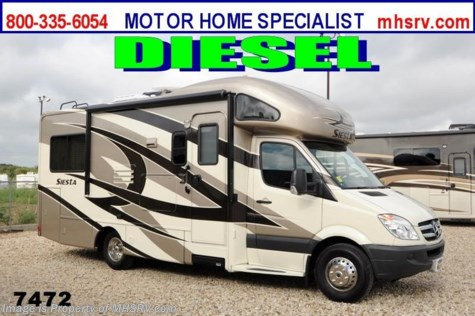 New 2014 Thor Motor Coach Four Winds Siesta Sprinter 24ST Diesel RV W/Slide and Ext. TV For Sale by Motor Home Specialist available in Alvarado, Texas