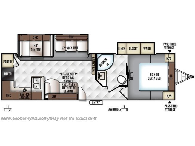 2016 Forest River Rockwood Ultra Lite 2902WS floorplan image