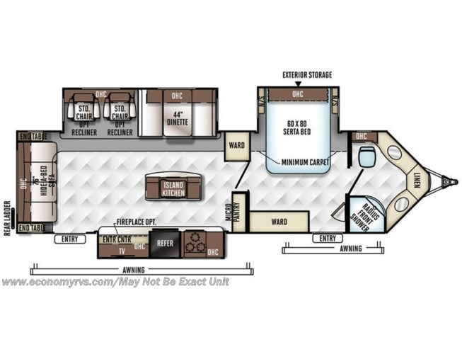 2016 Forest River Rockwood Windjammer 3025W floorplan image