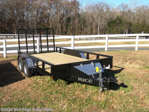 "New 2019 Rice Trailers 7x16 Pipe Top TA w/5' Gate 82"" Between Fenders For Sale by Blue Ridge Trailer Sales available in Ruckersville, Virginia"