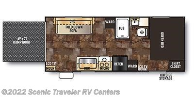 2014 Forest River Grey Wolf 19RR floorplan image