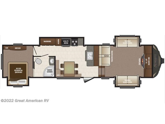 2017 Keystone Sprinter Wide Body 334FWFLS floorplan image