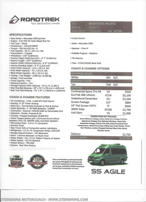 New 2019 Roadtrek SS-Agile WEEKENDER For Sale by Steinbring Motorcoach available in Garfield, Minnesota