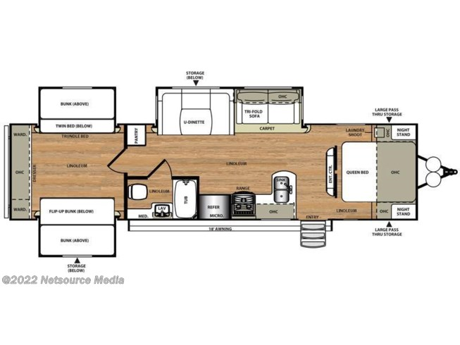 2016 Forest River Wildwood Heritage Glen 311QB floorplan image
