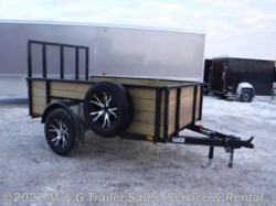 "2017 H&H   5x8 24"" Wood Side Utility Trailer - Black"