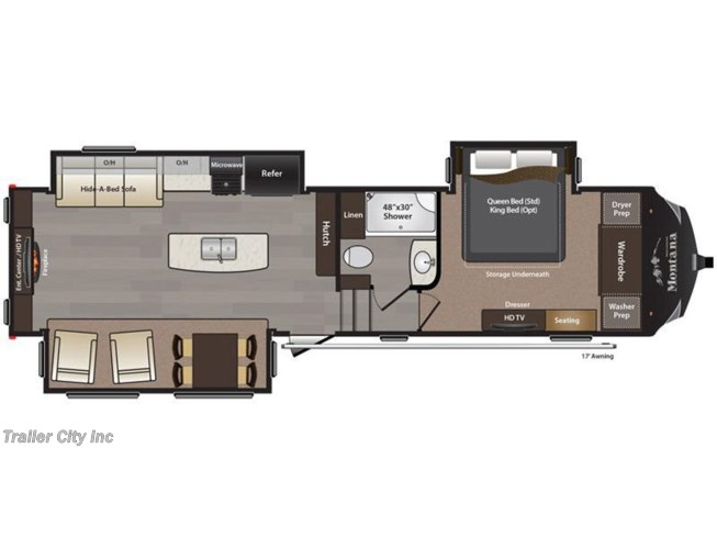 2017 Keystone Montana High Country 310RE floorplan image