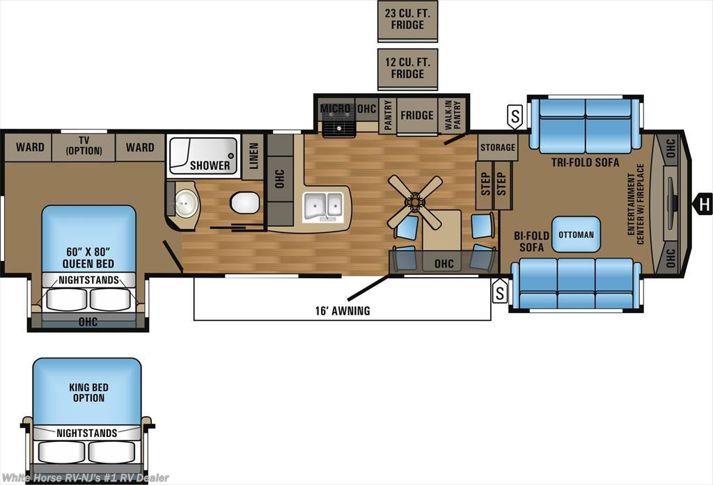 RV 2018 Jayco Eagle 339FLQS Front Living Room Quad Slide