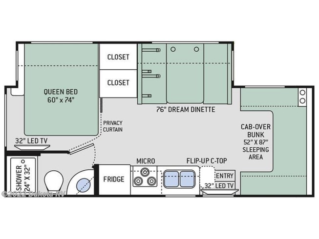 Floorplan of 2018 Thor Motor Coach Freedom Elite 24FE