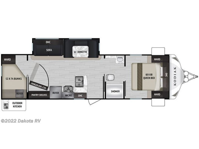 Floorplan of 2021 Dutchmen Kodiak Ultra-Lite 296BHSL