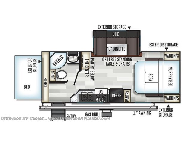 2019 Forest River Rockwood Roo 23BDS floorplan image