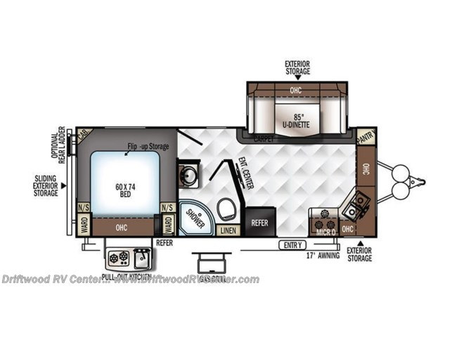 2018 Forest River Rockwood Mini Lite 2506S floorplan image