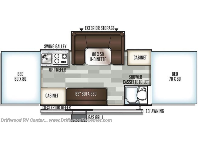 Floorplan of 2019 Forest River Rockwood Premier 2716G