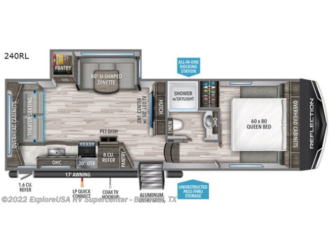2020 Grand Design Reflection 150 Series 240RL - New Fifth Wheel For Sale by ExploreUSA RV Supercenter - BOERNE, TX in Boerne, Texas features Slideout