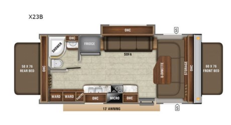 "<h2>New 2020 Jayco Jay Feather X23B Travel Trailer</h2><br /><p><strong>WE CAN ONLY ADVERTISE MSRP, CALL OR EMAIL US FOR OUR INTERNET PRICE!</strong></p><br /><p>Jayco Jay Feather expandable X23B highlights: </p><br /><ul><br /><li>Two Tent End Beds</li><br /><li>U-Shaped Dinette</li><br /><li>Sofa Slide</li><br /><li>Two Wardrobes</li><br /><li>Dexter Axles</li><br /><li>Goodyear Tires</li><br /></ul><br /><p> </p><br /><p>The whole family can enjoy dinner together around the U-shaped dinette and play a board game before preparing this space for two people to sleep.  The sofa slide out also doubles as sleeping space, and the two tent end beds offer plenty of room for four more family members, and each bed offers a privacy curtain and overhead storage.  You will be able to cook in the kitchen area and store leftovers in the fridge, get cleaned up in the full bathroom, and choose to be inside whenever you like. You will soon find out that the 13' power awning with LED lights provides an outdoor living area, the storage along the exterior gives you space for outdoor gear, and the aluminum-tread entry steps help when the campsite isn't so flat. </p><br /><p> </p><br /><p>The Jayco Jay Feather hybrid expandable offers an aerodynamic, rounded front profile with a diamond plate, a modern retro graphics package with a two-colored sidewall, Stronghold VBL vacuum-boned, laminated floor, side, rear and front walls on an American-made Norco frame with integrated A-frame.  You will appreciate the water-repellent, scratch resistant Jayco DuraTek vinyl tent material with zipper windows and permanently attached tent-to-bed base design.  Inside you will find smoked glass decorative inserts in select overhead cabinets, ball-bearing drawer glides, Jayco exclusive teddy bear ""soft-touch"" residential-style bed mats, and more!  Choose your favorite floorplan, and start a new adventure!</p><br /><p>Fretz RV is the highest rated volume Jayco Dealer in PA. For over 35 years, Fretz RV has represented the Jayco product line from pop up campers, Jayco Travel Trailer, Fifth Wheel, Jayco Greyhawk, and Jayco Class A motorhomes. Come in to Pennsylvania's top Jayco dealer and let us help you make a great deal on the Jayco of your choice. We also have the area's largest selection of used RV's, and offer great financing options as well. So, if you are in the York, Harrisburg, Lancaster, Philadelphia, Allentown, New Jersey, New York, or Maryland region; stop by and browse our huge Jayco RV inventory today.</p><br /><p> </p><br /><p><strong> </strong></p><ul><li>U Shaped Dinette</li></ul>"