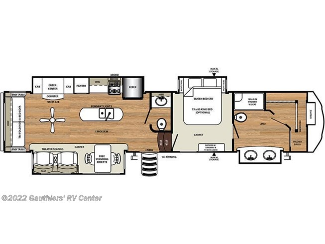 2019 Forest River Sierra 368FBDS floorplan image