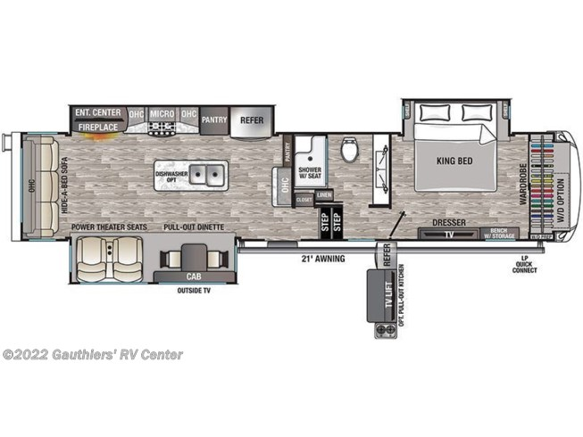 Floorplan of 2020 Forest River Cedar Creek Champagne Edition 38EL