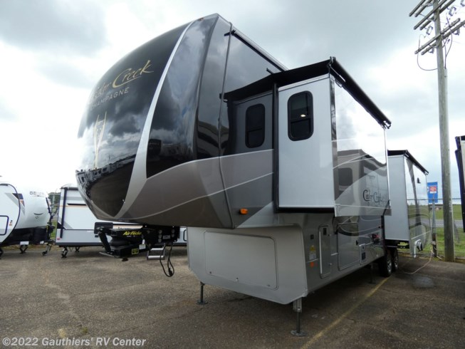 2020 Forest River Cedar Creek Champagne Edition 38EL - New Fifth Wheel For Sale by Gauthiers' RV Center in Scott, Louisiana features Leveling Jacks, LP Detector, Hitch, Awning, Microwave