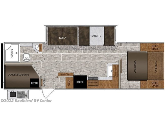 Floorplan of 2021 Prime Time Tracer 27BHS