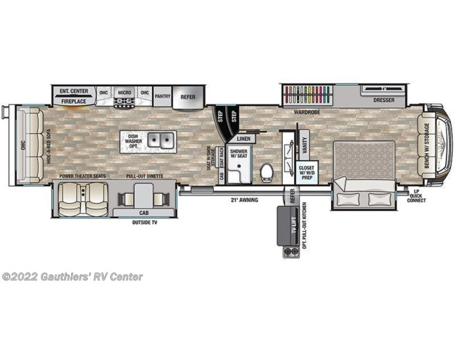 Floorplan of 2021 Forest River Cedar Creek Champagne Edition 38EBS