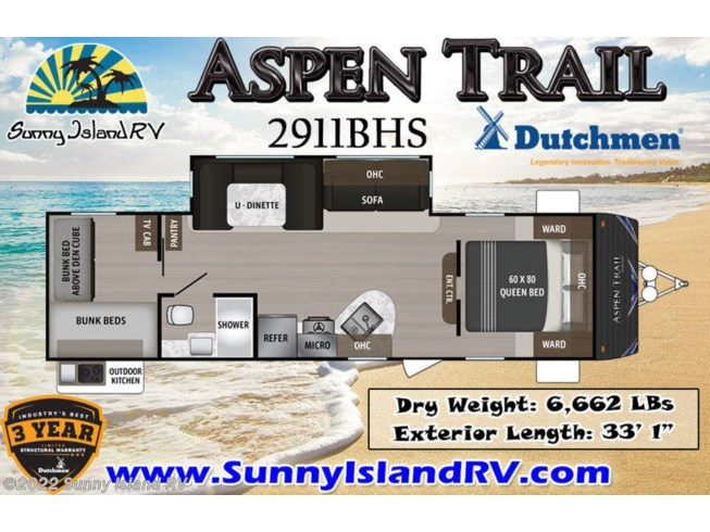 2020 Dutchmen 2911BHS - New Travel Trailer For Sale by Sunny Island RV in Rockford, Illinois